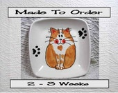 Smiling Ginger & White Cat On Square Ceramic Dish Handmade Pet Dish by GMS