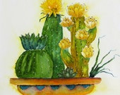 original southwestern watercolor painting, cacti in planter watercolor, wall decor for desert cabin
