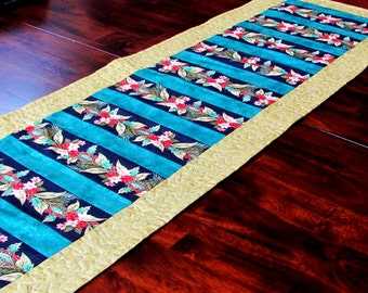red, teal and metallic gold table runner, thanksgiving table topper, table runner for winter holidays, winter table runner