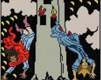 The Tower Tarot card cross stitch pattern PDF Major Arcana