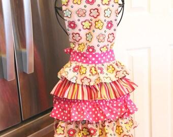 Ladies Handmade Full Ruffled Apron Pink Polka Dot Stripes And Flowers Bib Style Apron For Women