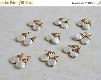 SALE 27% Off White Coin Pearl Gold Baroque Dangle Earrings GE10