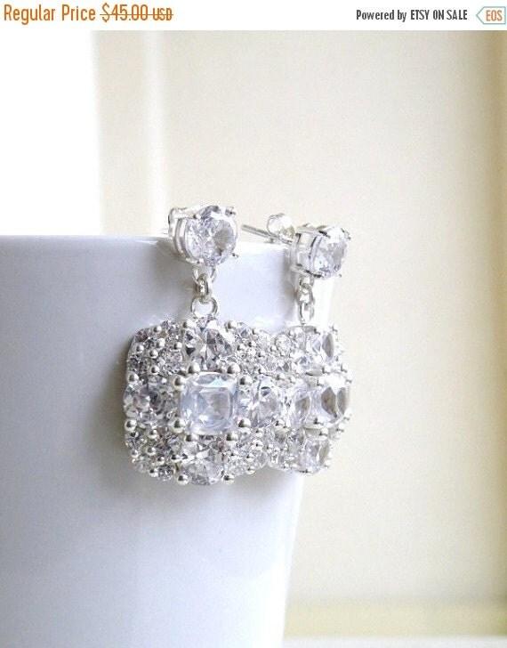 Mega SALE Ivanka Trump Cushion CZ Sterling Silver Stud Earrings IE2