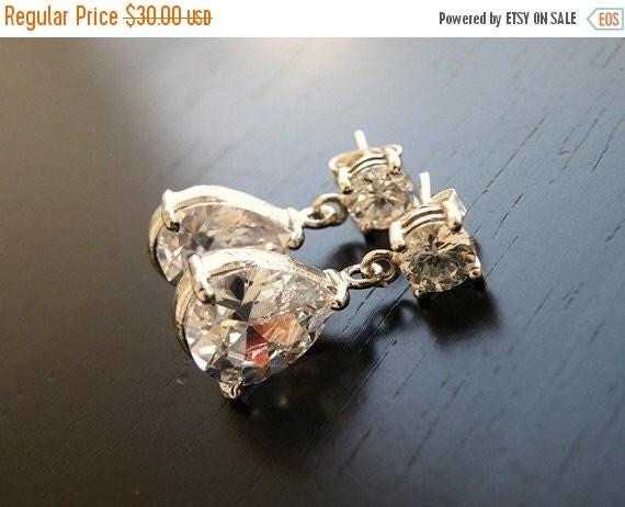 27% Off Sale Wedding Earrings White Teardrop Pear CZ Silver Earrings BE4