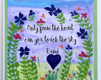 Only from the Heart RUMI Poster Yoga Meditation Inspirational Spiritual Friends Gift Motivational Print Heartful Art by Raphaella Vaisseau