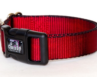 "Dog Collar - ( Red & Black ) ""Redrum"" Hand Dyed Martingale, Buckle 1""- 2"" Width"