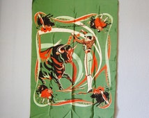 Vintage Bull Fighting Scarf Novelty Tijuana 1950s Rayon Green and Orange