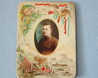 Antique WWI Tin Litho Memorial Photo 1910s USA, Red Cross, Airplanes, Paratroopers, Ships, Eagle World War I