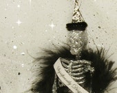 Significantly Disgruntled skeleton ornament Halloween decor Halloween ornament silver black and white ooak art doll humorous toni Kelly