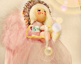 Angel tree topper with pink and gold Easter angel doll with blond hair toni Kelly original ooak art doll with pink bird vintage inspired