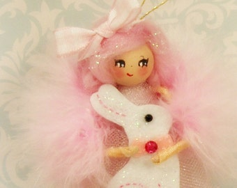Easter ornament easter doll spring decor pink and white ooak art doll vintage retro inspired toni Kelly original pixie