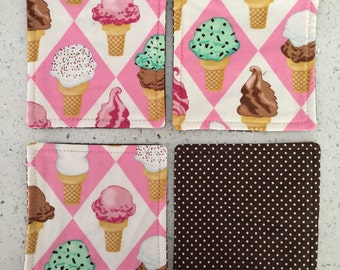 Drink Coasters - Set of 4 - Ice Cream Cones