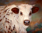 "Cow Oil Painting-Original Long Horn Painting-On Canvas-""Borden"""