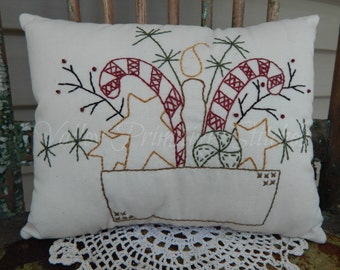 Decorative Winter Christmas Pillow, Hand Stitched Pillow, Candy Canes, Stars, Candle
