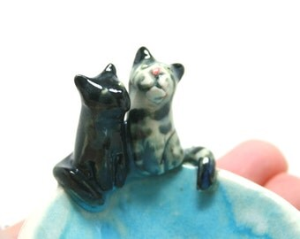 two cat bowl - made to order trinket bowl