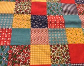 2 Yards of Vintage Aqua, Yellow and Red Patchwork Cotton Fabric