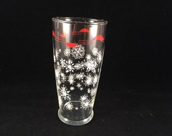Vintage Red with White Snowflakes Drinking Glass