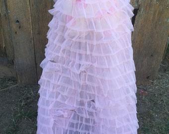 Vintage Misses Pretty Pink Ruffled Crinoline Slip