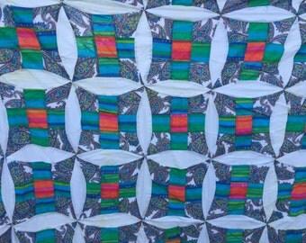 Vintage Nine Patch Variation Quilt Top Set in Teal and White