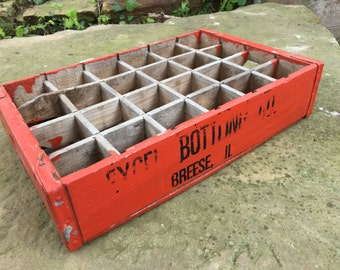 Vintage Orange Painted  EXCEL BOTTLING Wooden Soda Crate Case Tray