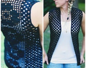 Instant PDF Download, Flower Lace Vest, Crochet Pattern