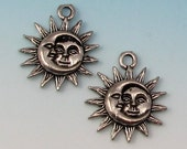 Sun Moon Charm, Man In The Moon, Antique Pewter, 2 Pieces,  AP98