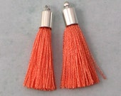 Silky Tassel Pendant, Coral, Silver Cap, 30 MM, 2 Pieces, AS393