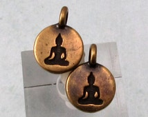 Small Buddha Charm, Brass Ox, TierraCast 2-Pc. TB49