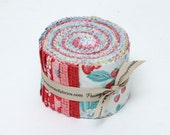 SALE 2.5 inch strips SHABBY STRAWBERRY Jelly Roll fabric by Penny Rose Fabrics Emily Hughes