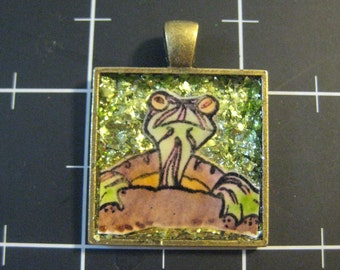 Red Eared Slider Turtle Pendant, 50% goes to the current selected animal charity