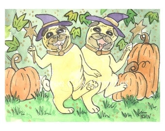 A Bewitching Pair of Pugs - Choose from ACEO Print, Note Cards, or Art Print