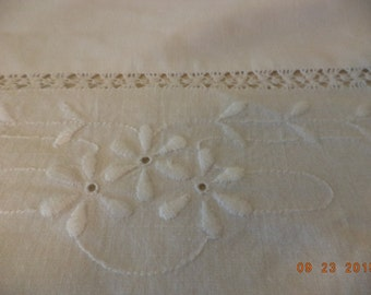 Vintage cotton white top sheet with white on white embroidered flowers price reduced