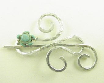 Silver Infinity Shawl Brooch/Clip/Pin/Clasp with Turquoise Turtle
