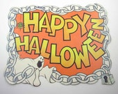 Vintage Happy Halloween Sign or Die Cut Decoration with Ghost Spider Chain and Lock