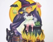 Vintage Halloween Cardboard Die Cut Decoration with Witch Cauldron Bat Black Cat by Hallmark