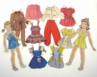 Vintage 1950s Paper Dolls Cute Little Girls and Outfits