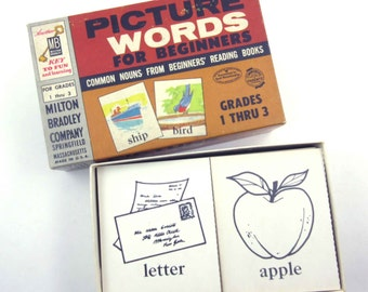 Vintage 1950s Children's School Picture Word Flash Cards by Milton Bradley in Original Box Set of 90