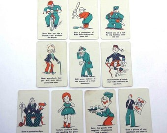Vintage Miniature Animal Playing Cards Set of 10 Lot A