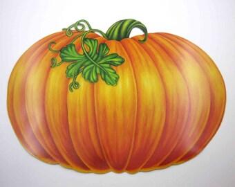 Vintage 1980s Large NOS Cardboard Pumpkin Thanksgiving or Halloween Die Cut Decoration by Beistle