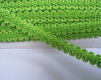 4 to 6 yards Medium Gimp Braid Trim 3/8 inch or 10mm Width - Choose Your Own Yards -Number 44 Lime Green