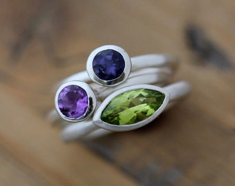 Stacking Ring Set in Marquise Peridot, Amethyst and Iolite, Gemstone Stacking Rings or Family Ring Birthstone Jewelry for Women