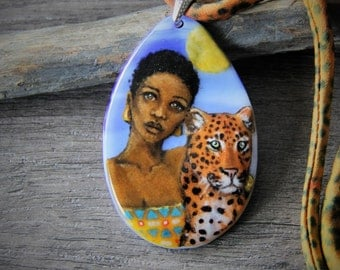 Beautiful African woman and leopard - fused glass pendant -  boho necklace