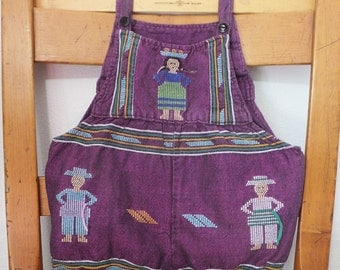 Vintage Boho Romper Purple Ethnic Overalls Mexican Style Baby Outfit Southwest Style Suit for Infant Snap Crotch Bloomers