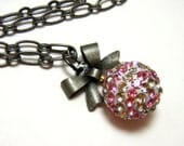 Pink Striped Rhinestone Orb Necklace - Super sparkly baby pink and white stripes rhinestone sphere with antiqued silver bow