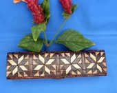 Small Jewelry Box - Quilt Square Design - Woodburned, Pyrography