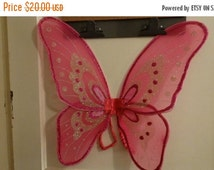 HUGE SALE Halloween Costume Fairy Princess  Wings, Pink Wings, Glitter, Pixie Costume, Bug Costume, Insect