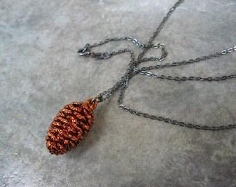 Real Cone Pendant Necklace - Pine Cone - Oxidized Silver - Copper