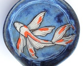 Stoneware Pottery Spoon Rest OOAK Blue White Orange Hand Painted Koi Fish #257