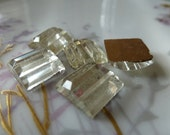5 Vintage Deco Clear Stepped Glass Cabs C38