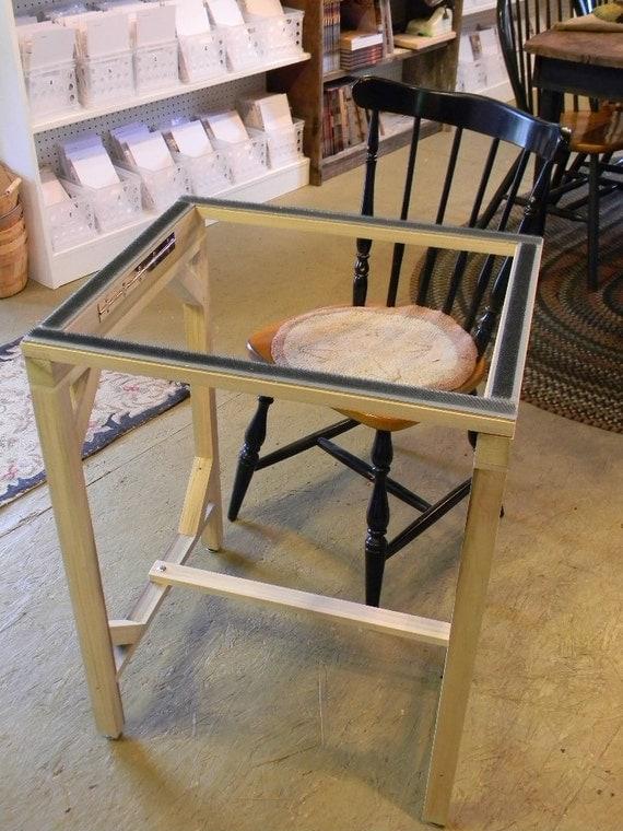 standing floor frame for rug hooking from notforgotten farm. Black Bedroom Furniture Sets. Home Design Ideas